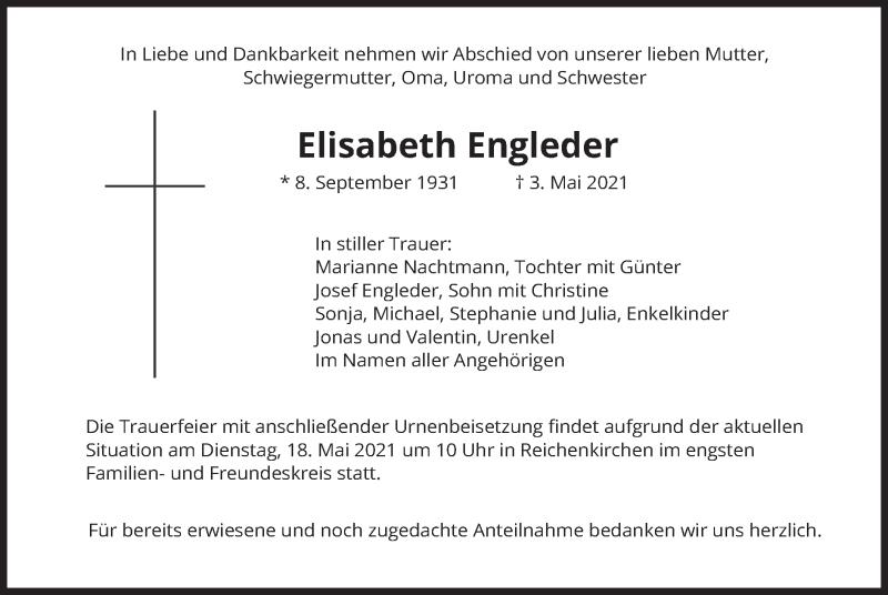 Traueranzeige für Elisabeth Engleder vom 15.05.2021 aus merkurtz