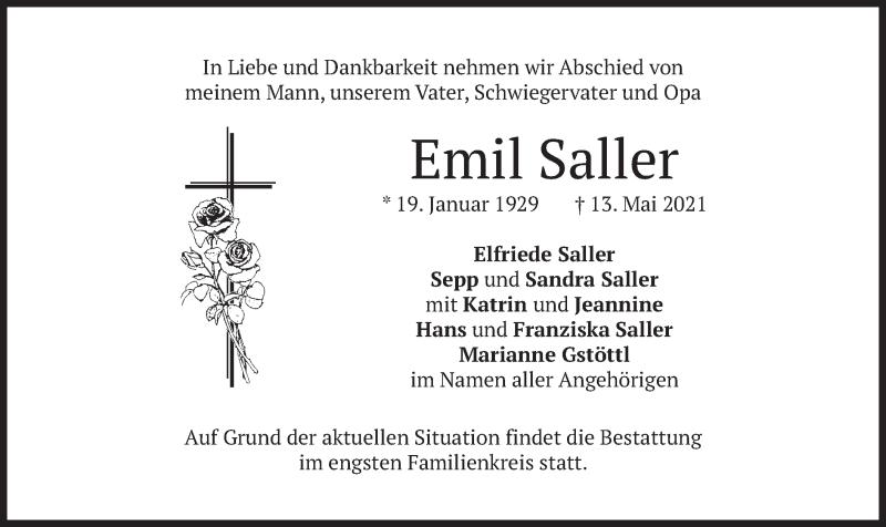 Traueranzeige für Emil Saller vom 22.05.2021 aus merkurtz