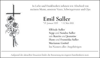 Traueranzeige von Emil Saller von Das Gelbe Blatt Penzberg
