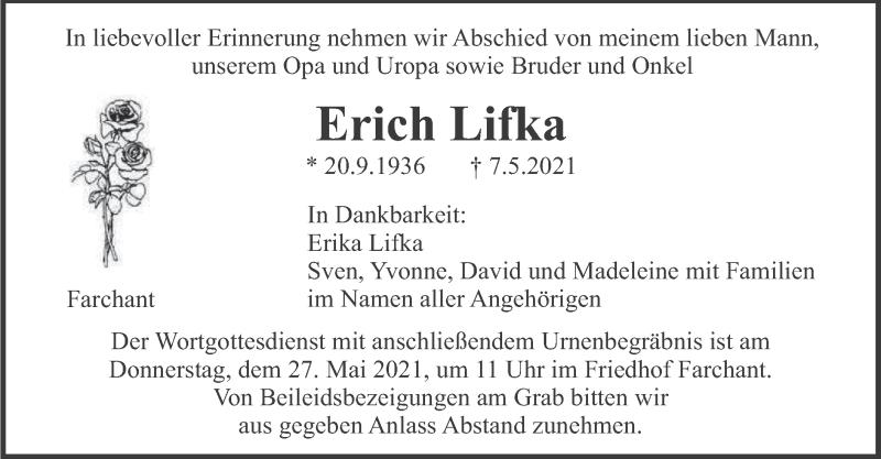 Traueranzeige für Erich Lifka vom 22.05.2021 aus merkurtz