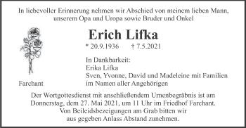 Traueranzeige von Erich Lifka von merkurtz