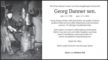 Traueranzeige von Georg Danner von merkurtz