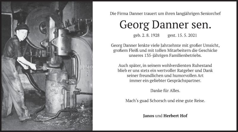 Traueranzeige für Georg Danner vom 18.05.2021 aus merkurtz