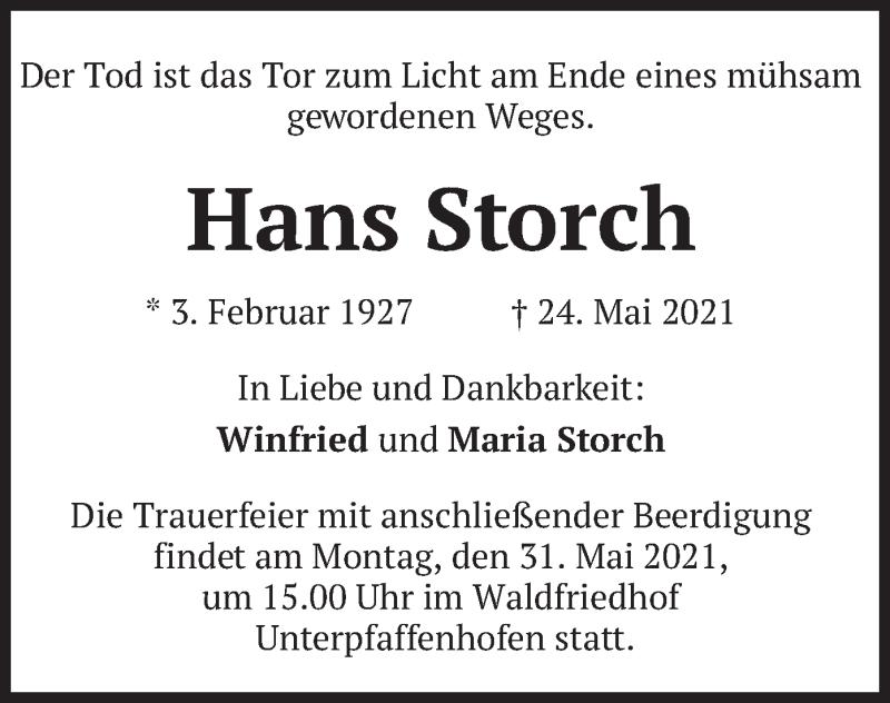 Traueranzeige für Hans Storch vom 28.05.2021 aus merkurtz