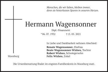 Traueranzeige von Hermann Wagensonner von merkurtz