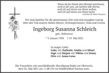Traueranzeige von Ingeborg Susanna Schleich von merkurtz