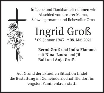 Traueranzeige von Ingrid Groß von merkurtz