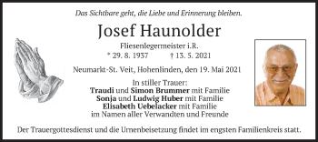 Traueranzeige von Josef Haunolder von merkurtz
