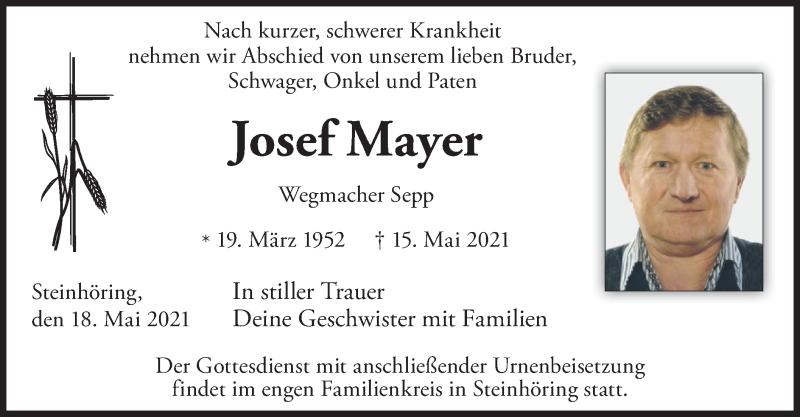 Traueranzeige für Josef Mayer vom 18.05.2021 aus merkurtz