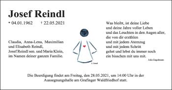 Traueranzeige von Josef Reindl von merkurtz