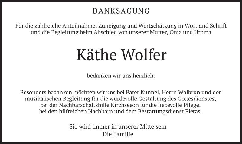 Traueranzeige für Käthe Wolfer vom 15.05.2021 aus merkurtz