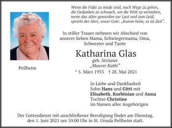 Traueranzeige von Katharina Glas von merkurtz