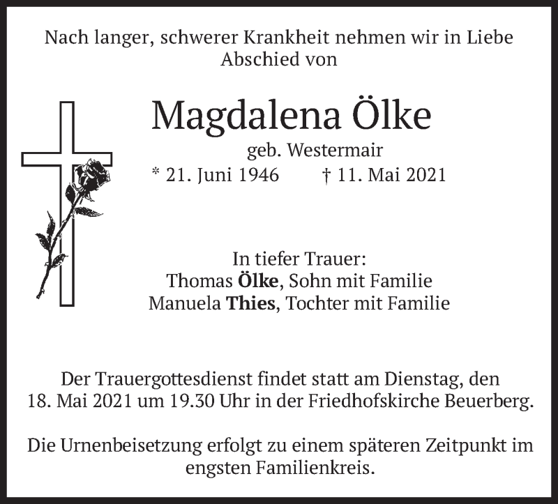 Traueranzeige für Magdalena Ölke vom 15.05.2021 aus merkurtz