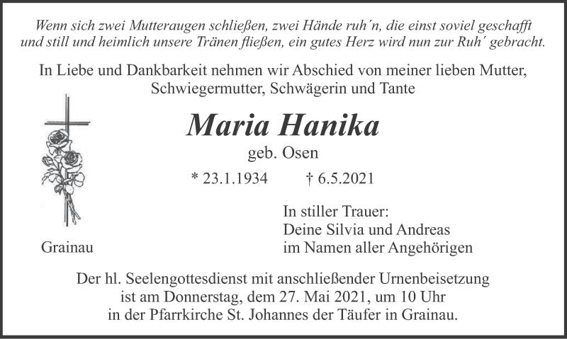 Traueranzeige für Maria Hanika vom 22.05.2021 aus merkurtz