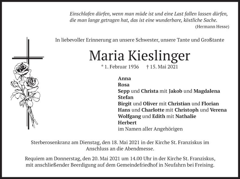 Traueranzeige für Maria Kieslinger vom 18.05.2021 aus merkurtz