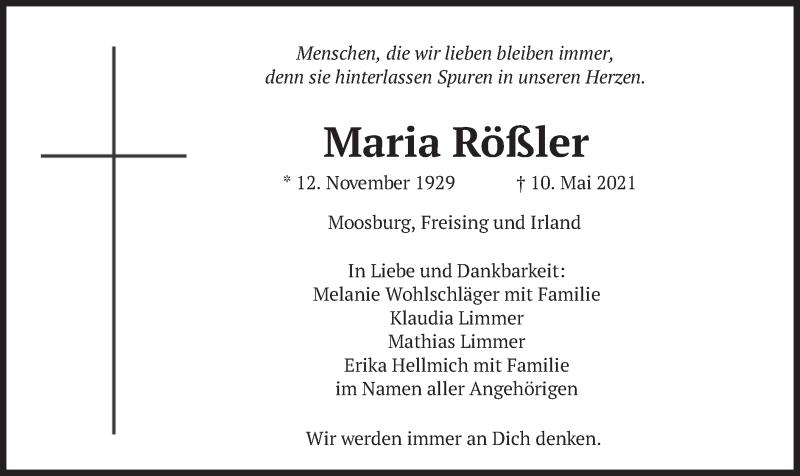 Traueranzeige für Maria Rößler vom 15.05.2021 aus merkurtz