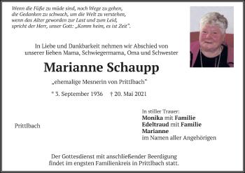 Traueranzeige von Marianne Schaupp von merkurtz