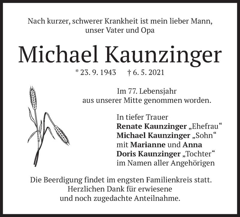 Traueranzeige für Michael Kaunzinger vom 11.05.2021 aus merkurtz