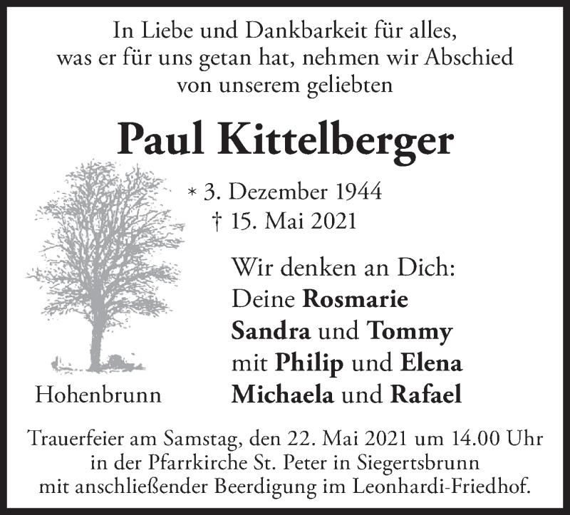 Traueranzeige für Paul Kittelberger vom 21.05.2021 aus merkurtz