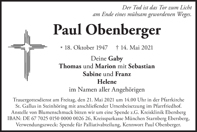 Traueranzeige für Paul Obenberger vom 18.05.2021 aus merkurtz