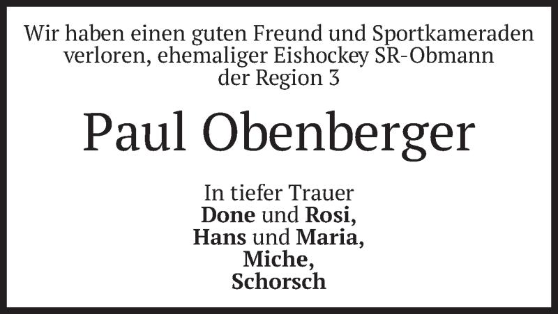 Traueranzeige für Paul Obenberger vom 20.05.2021 aus merkurtz