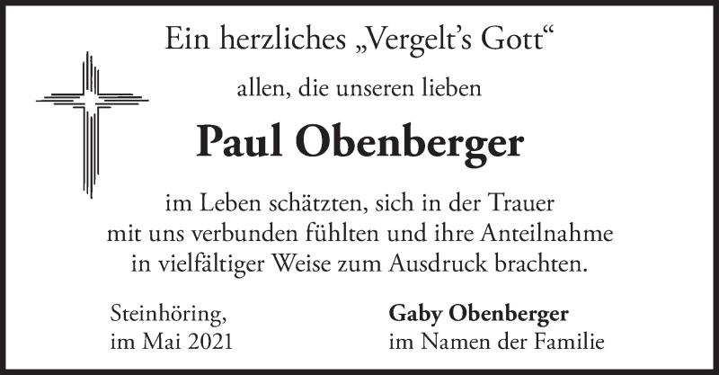Traueranzeige für Paul Obenberger vom 29.05.2021 aus merkurtz