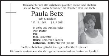 Traueranzeige von Paula Betz von merkurtz