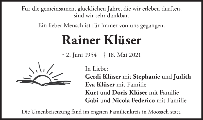 Traueranzeige für Rainer Klüser vom 29.05.2021 aus merkurtz