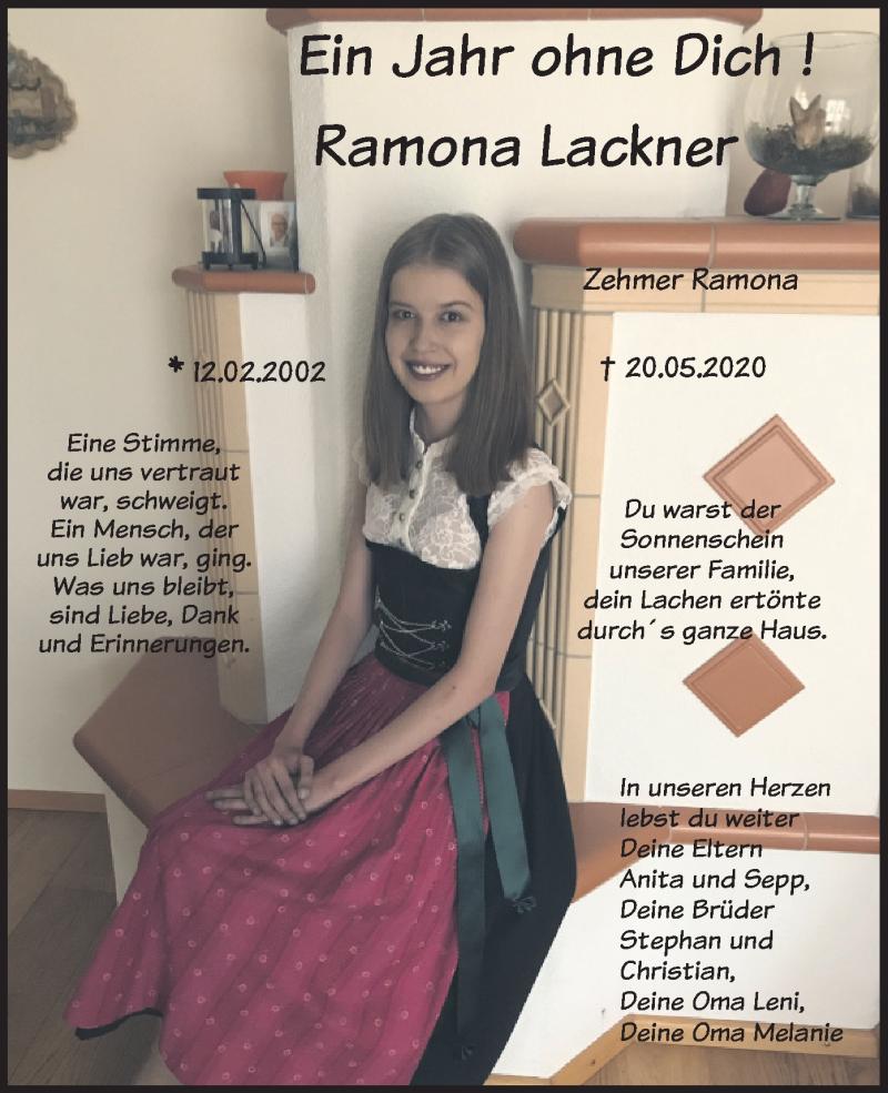 Traueranzeige für Ramona Lackner vom 20.05.2021 aus merkurtz