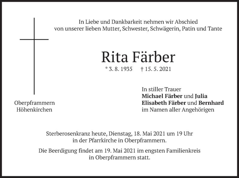 Traueranzeige für Rita Färber vom 18.05.2021 aus merkurtz