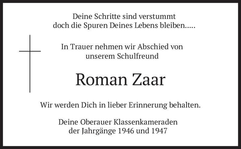 Traueranzeige für Roman Zaar vom 15.05.2021 aus merkurtz