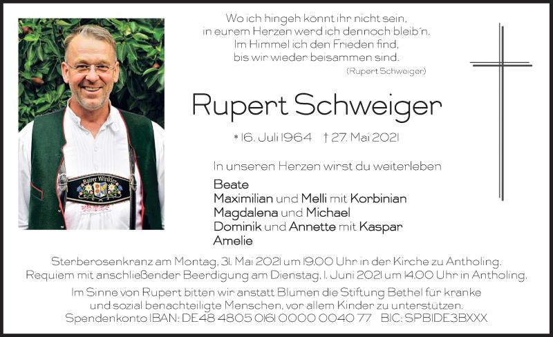 Traueranzeige für Rupert Schweiger vom 29.05.2021 aus merkurtz