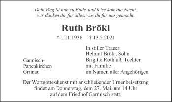 Traueranzeige von Ruth Brökl von merkurtz