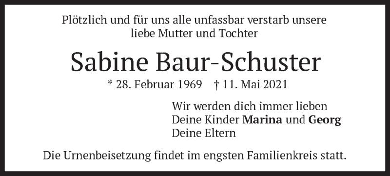 Traueranzeige für Sabine Baur-Schuster vom 29.05.2021 aus merkurtz