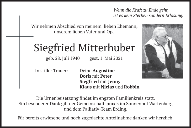 Traueranzeige für Siegfried Mitterhuber vom 11.05.2021 aus merkurtz