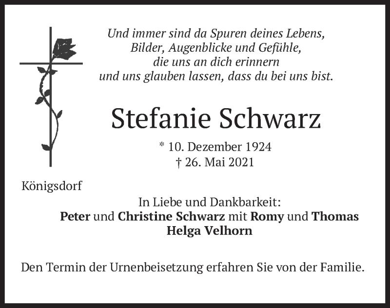 Traueranzeige für Stefanie Schwarz vom 29.05.2021 aus merkurtz