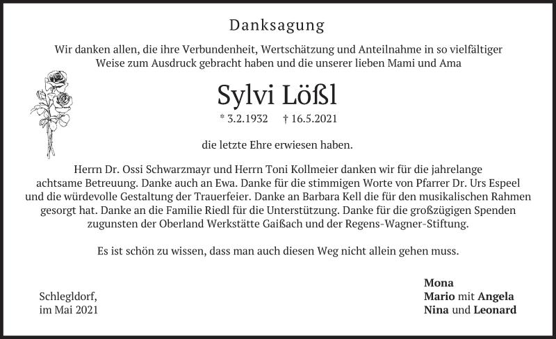 Traueranzeige für Sylvi Lößl vom 29.05.2021 aus merkurtz