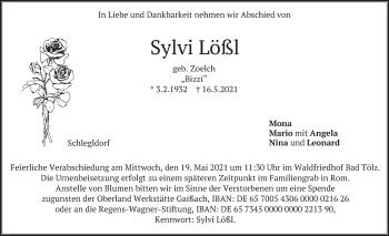Traueranzeige von Sylvi Lößl von merkurtz