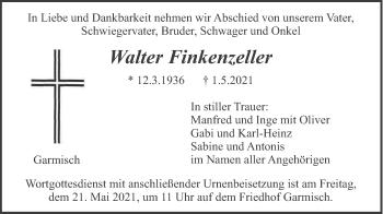 Traueranzeige von Walter Finkenzeller von merkurtz