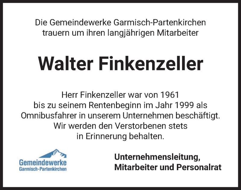 Traueranzeige für Walter Finkenzeller vom 19.05.2021 aus merkurtz