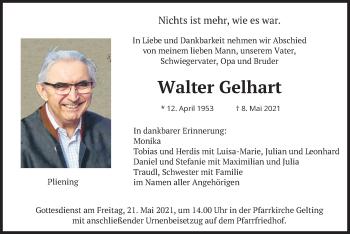 Traueranzeige von Walter Gelhart von merkurtz