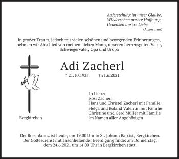 Traueranzeige von Adi Zacherl von merkurtz