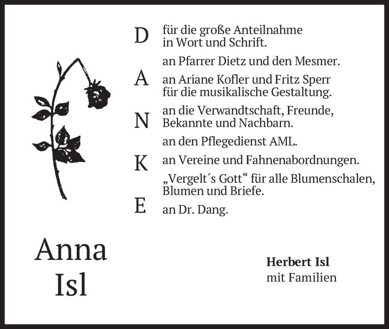 Traueranzeige für Anna Isl vom 19.06.2021 aus merkurtz