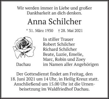 Traueranzeige von Anna Schilcher von merkurtz