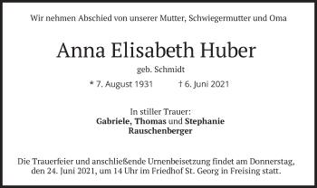 Traueranzeige von Anna Elisabeth Huber von merkurtz