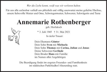 Traueranzeige von Annemarie Rothenberger von merkurtz