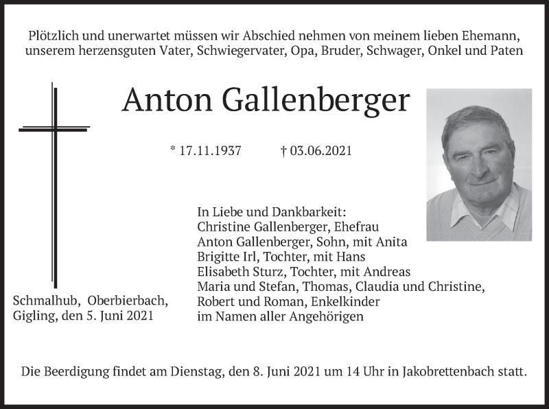 Traueranzeige für Anton Gallenberger vom 05.06.2021 aus merkurtz
