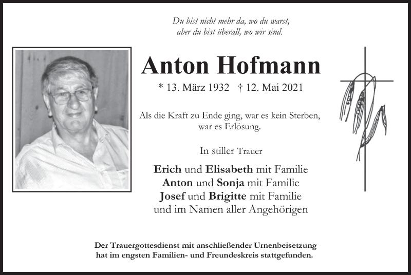 Traueranzeige für Anton Hofmann vom 05.06.2021 aus merkurtz