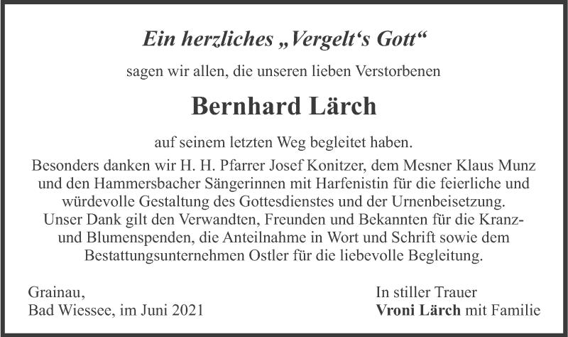 Traueranzeige für Bernhard Lärch vom 12.06.2021 aus merkurtz