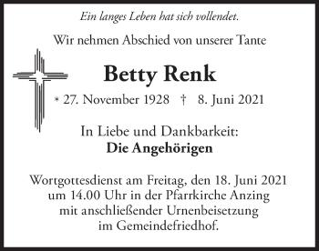Traueranzeige von Betty Renk von merkurtz